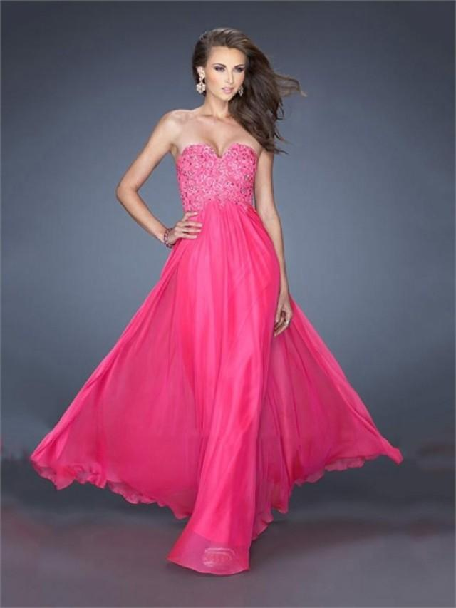 wedding photo - V-neck Beaded Lace A-line Chiffon Prom Dress PD2493