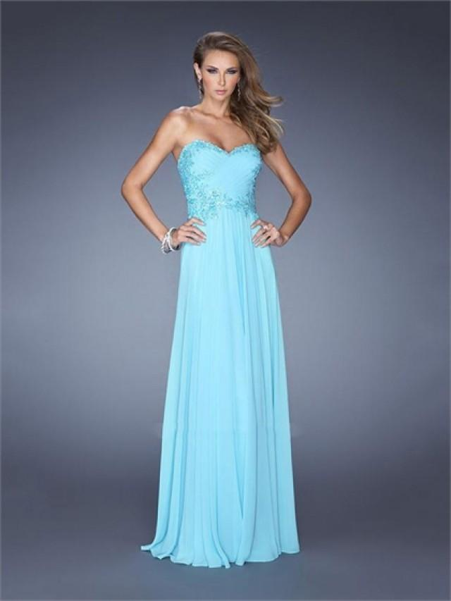 wedding photo - A-line Sweetheart Jeweled Appliques Chiffon Prom Dress PD2490