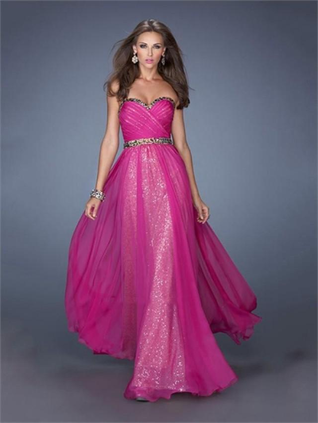 wedding photo - Sweetheart Ruched Bodice Beaded Waist Sequins Chiffon Prom Dress PD2497