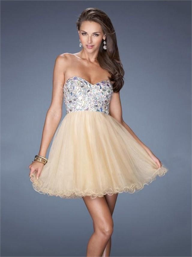 wedding photo - Pretty Sweetheart Beadings Sequins Short Tulle Prom Dress PD2495