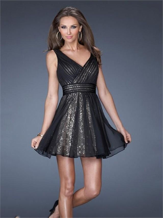 wedding photo - Lovely V-neck Sequins Low V Back Chiffon Prom Dress PD2501