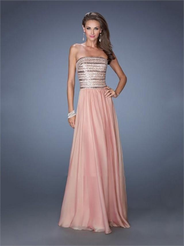 wedding photo - Strapless Sequins Floor Length A-line Chiffon Prom Dress PD2499
