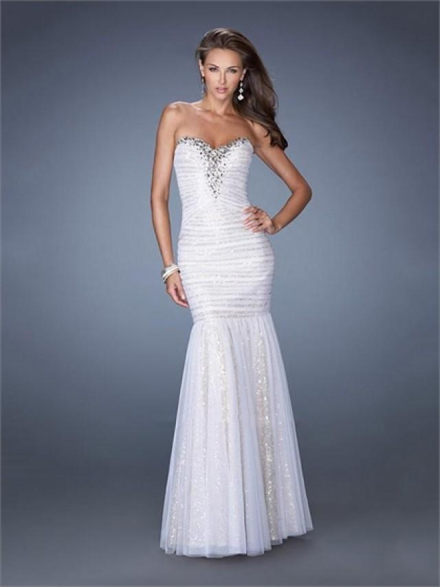 wedding photo - Strapless Sweetheart Beadings Sequins Pleated Mermaid Prom Dress PD2498