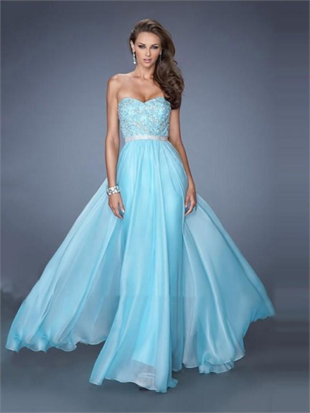 wedding photo - Elegant A-line Sweetheart Beaded Lace Belt Floor Length Chiffon Prom Dress PD2509