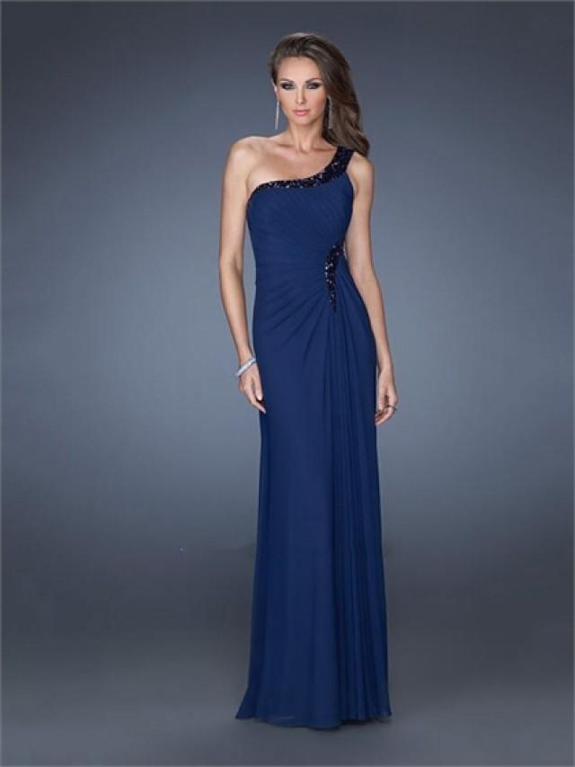 wedding photo - One Shoulder Beadings Sequins Floor Length Chiffon Prom Dress PD2507