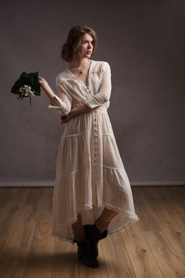 Custom made bohemian wedding dress alternative wedding for Alternative dresses for weddings
