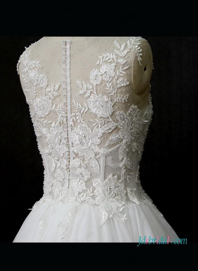 Sexy See Through Lace Bodice Tulle Bottom Wedding Dress