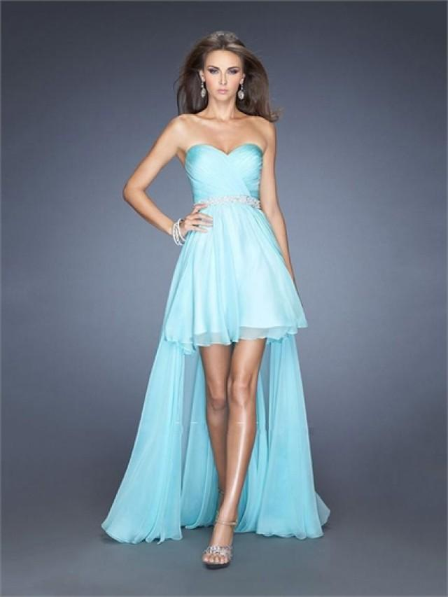 wedding photo - Sweetheart Ruched Bodice Beadings High Low Chiffon Prom Dress PD2599