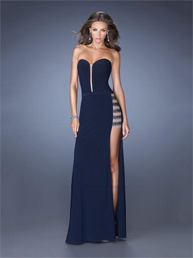 wedding photo - Sexy Strapless Sweetheart Side Slit Chiffon Prom Dress PD2604