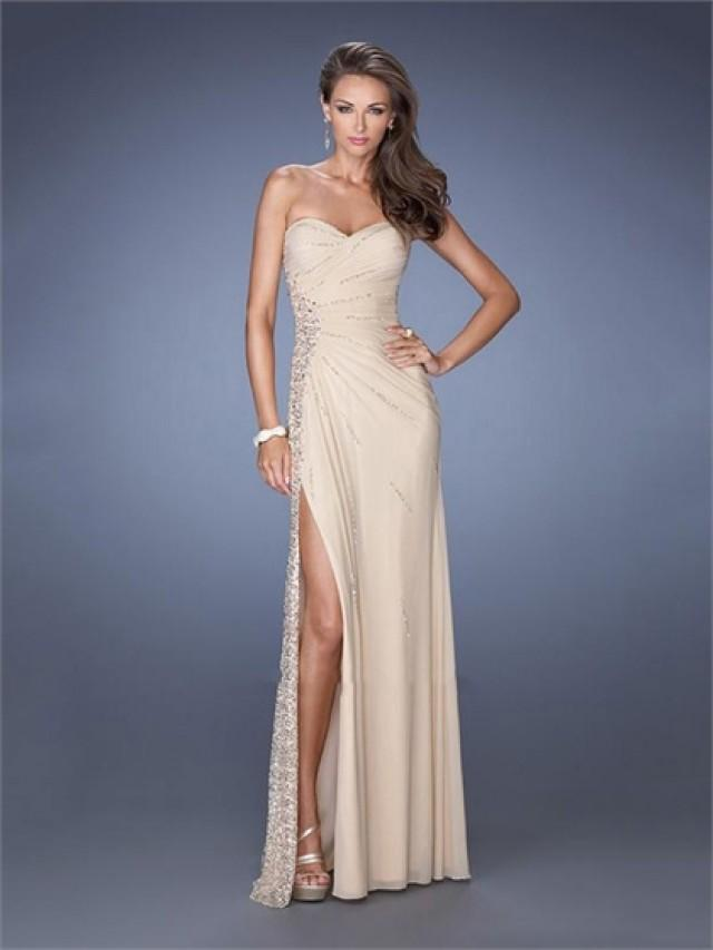 wedding photo - Slim A-line Sweetheart Sequins Pleatings High Slit Chiffon Prom Dress PD2603