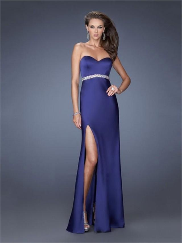 wedding photo - Mermaid Satin Sweetheart Beaded Waist Side Slit Prom Dress PD2602