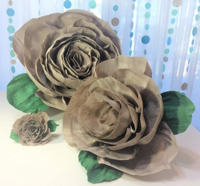 wedding photo - Crepe paper roses, 4 sizes to choose from, Crepe paper flowers, Crepe paper flower, Floral wall decor, Baby shower decor, Home decor