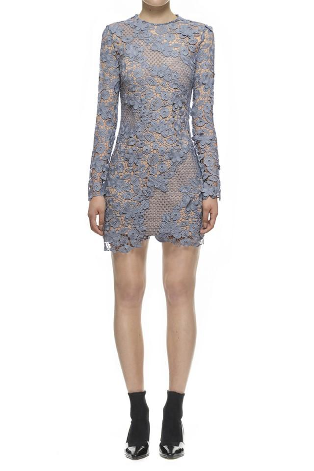 wedding photo - Self Portrait 3d Floral Mini Dress In Dove Grey