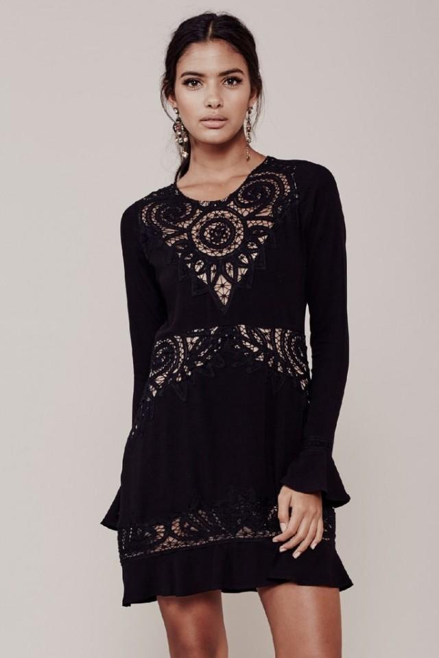 wedding photo - FOR LOVE & LEMONS VALENTINA MINI DRESS - BLACK