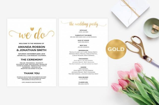 wedding photo - Wedding Program Template Gold - Wedding Ceremony Program Template - Foil Gold Wedding Program Printable - Downloadable Wedding