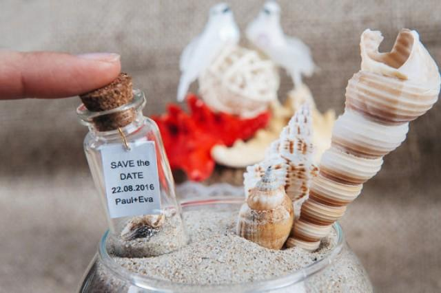 wedding photo - Save the date Beach wedding announcement Wedding keepsake Save the date bottle Nautical wedding favors Beach in a bottle Invitations