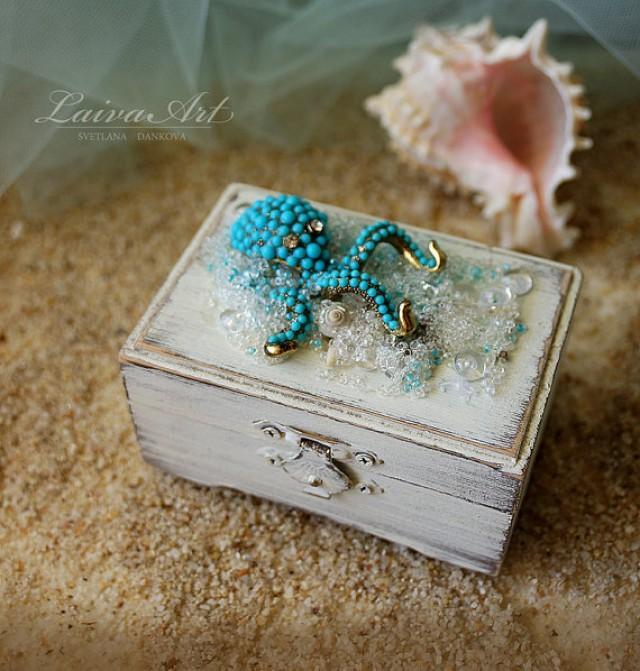wedding photo - Beach Wedding Ring Box Custom Ring Box Rustic Ring Bearer Ring Box Personalized Box Beach Ring Box White Ring Box Beach Ring Bearer