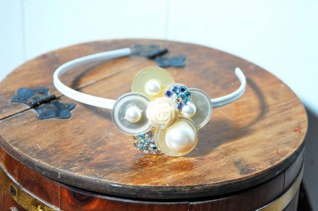 wedding photo - Vintage Button Headband Encrusted wth Pearls and Swarovski Cr;ystals