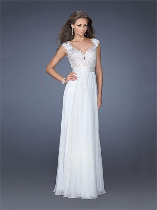 wedding photo - Cap Sleeves Sweetheart Lace Chiffon Prom Dress PD2613