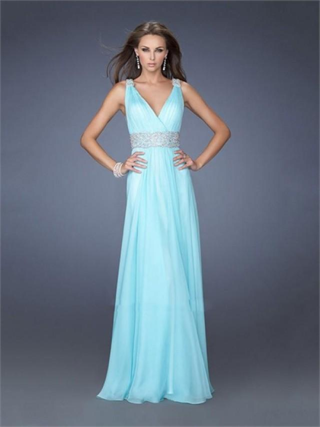 wedding photo - Straps V-neck Beadings Floor Length Chiffon Prom Dress PD2612