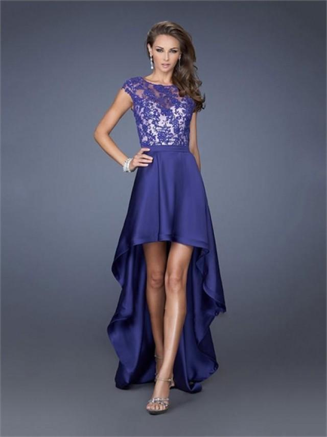 wedding photo - Lace Satin High Low Scoop Neckline Perfect 2014 Prom Dress PD2610