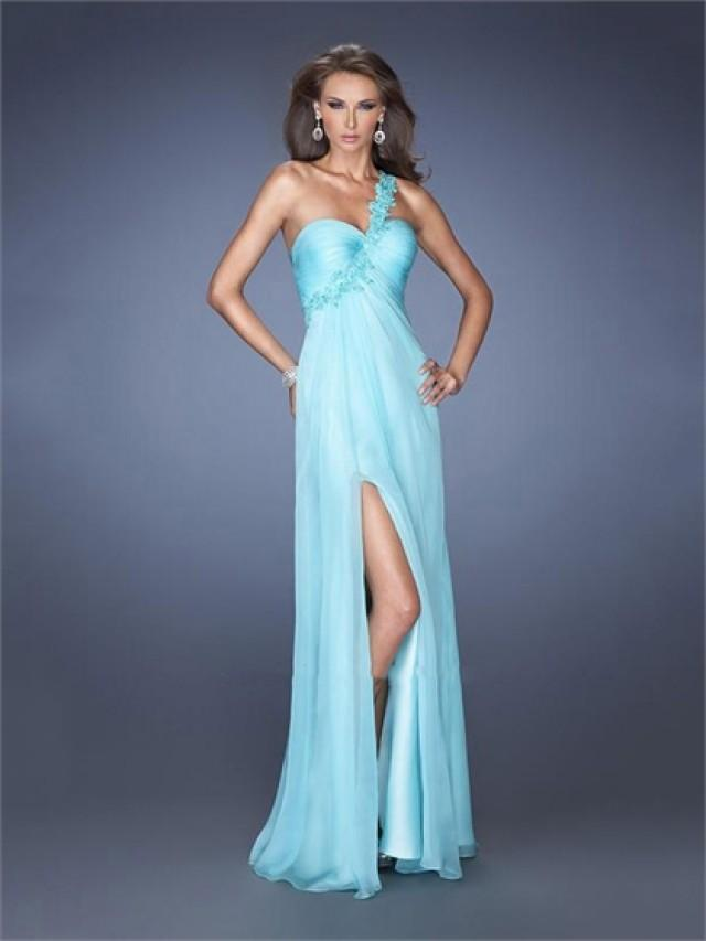 wedding photo - One Shoulder Sweetheart High Slit Cutout Back Floor Length Chiffon Prom Dress PD2609
