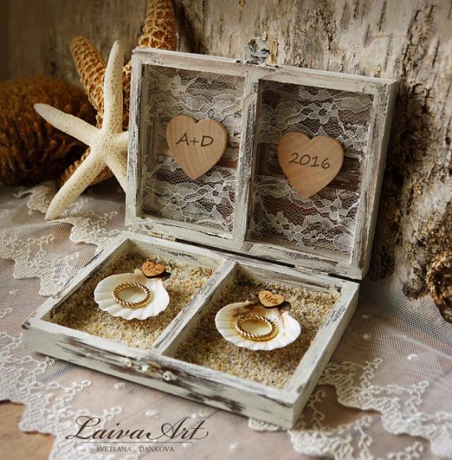 wedding photo - Beach Wedding Ring Bearer Pillow Box Rustic Ring Bearer Ring Box Personalized Box Beach Ring Box White Ring Box Beach Ring Bearer