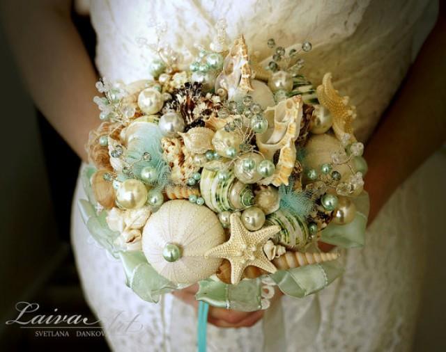 wedding photo - Beach Shell Bouquet Starfish Bouquet Beach Wedding Bouquet Seashell Wedding Bouquet