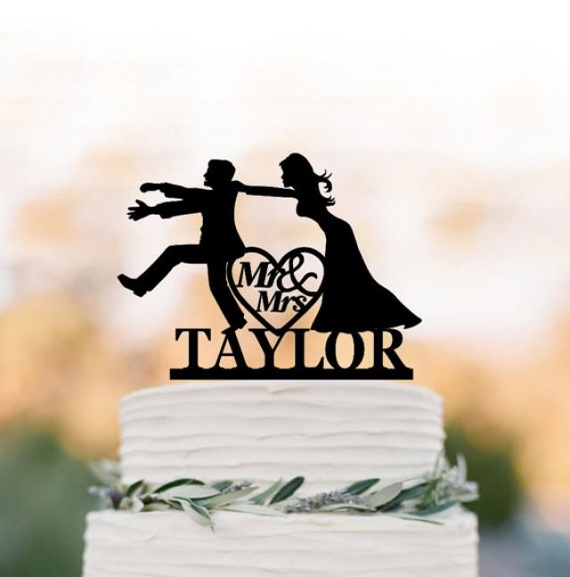 wedding photo - Personalized Wedding Cake topper funny, mr and mrs Bride and groom silhouette with custom name