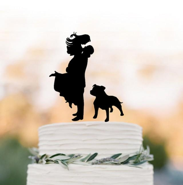 wedding photo - bride and groom silhouette Wedding Cake topper with dog, wedding cake decor people