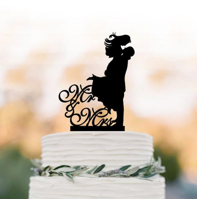 wedding photo - Mr and Mrs bride and groom silhouette Wedding Cake topper, cake decoration, funny wedding cake toppers silver mirror available