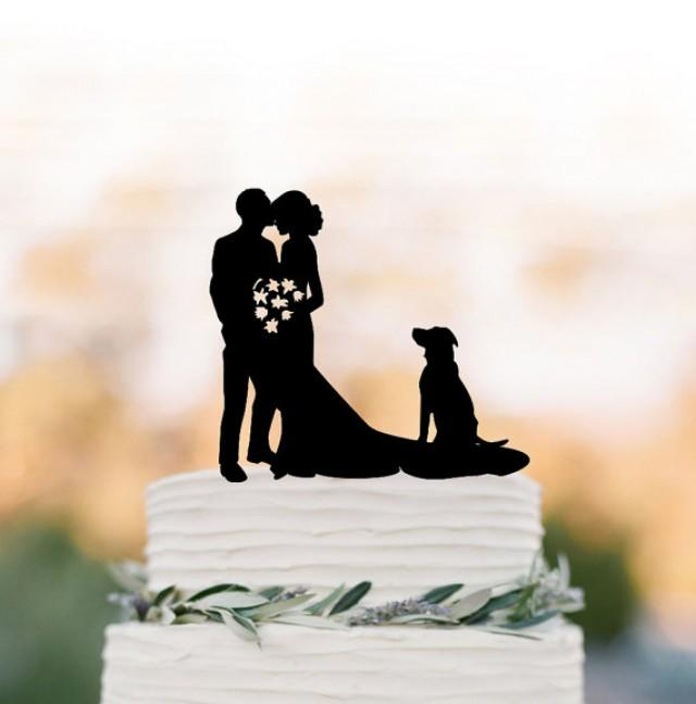 wedding photo - groom kissing brides forehead silhouette Wedding Cake topper with dog, funny wedding cake decor people