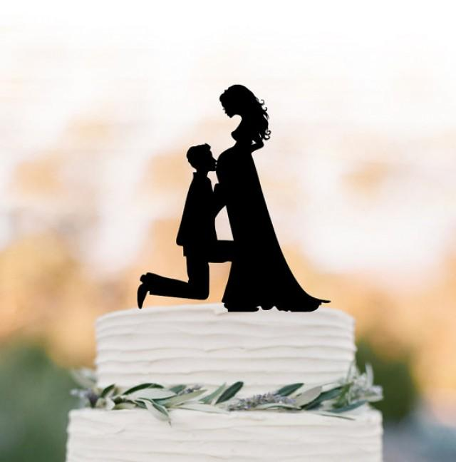 wedding photo - pregnant bride Wedding Cake topper funny, Bride and groom silhouette , cake decor, long hair bride
