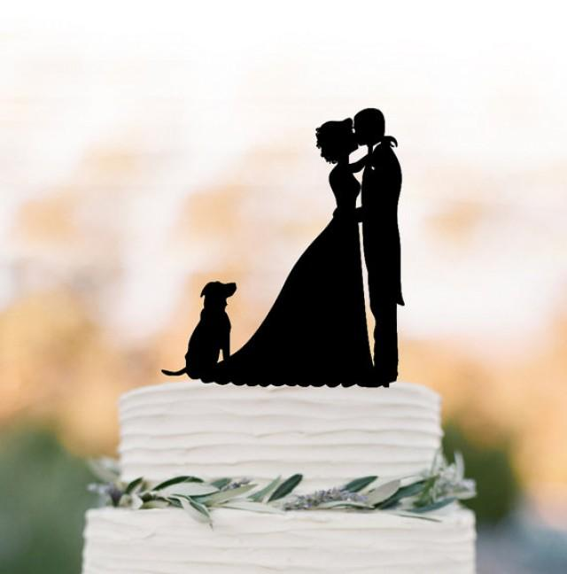 wedding photo - groom kissing bride silhouette Wedding Cake topper with dog, funny wedding cake decor people figurine silver and gold mirror available