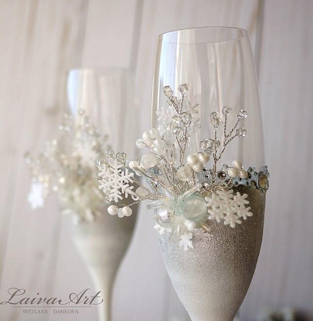 wedding photo - Snowflakes Winter Wedding Champagne Glasses Winter Wedding Christmas Wedding Holiday Wedding Champagne Flutes