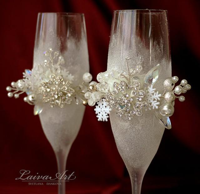 wedding photo - Snowflakes Winter Wedding Champagne Flutes Champagne Glasses Winter Wedding Christmas Wedding Holiday Wedding