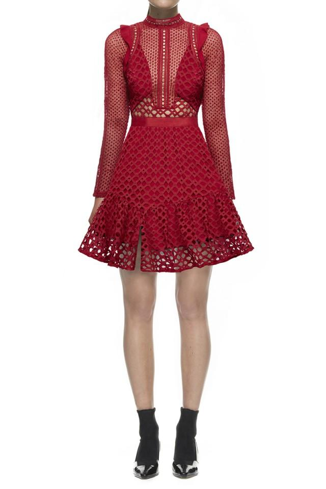 wedding photo - Self Portrait Hall Mini Dress In Raspberry Red