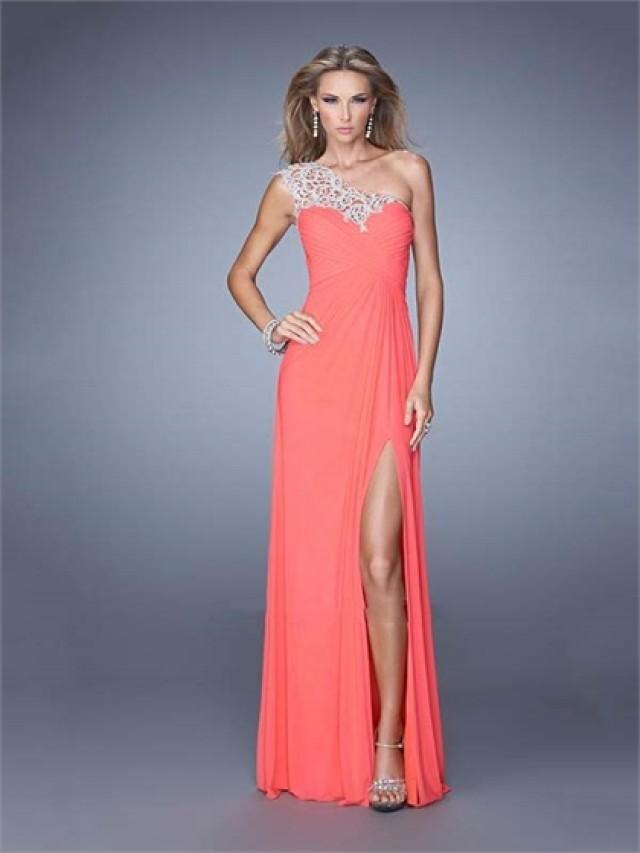 wedding photo - One Shouder Crisscross Ruched Bodice Chiffon Prom Dress PD3158