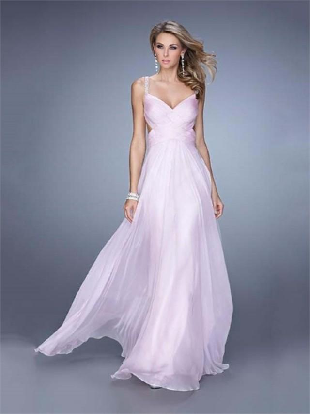 wedding photo - Gorgeous Multiple Crisscrossed Straps Ruched Bodice Chiffon Prom Dress PD3157