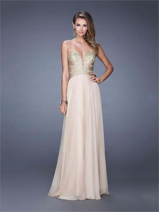 wedding photo - A-line Sweetheart Sheer inset Embroidered Bodice Chiffon Prom Dress PD3156