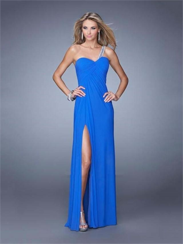 wedding photo - One Shoulder Sweetheart Gathered Bodice High Slit Chiffon Prom Dress PD3155