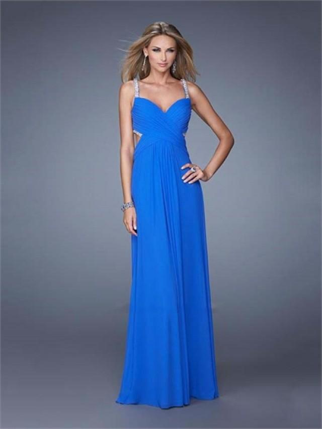 wedding photo - A-line Ruched Beaded Straps Cut Out Back Chiffon Prom Dress PD3162