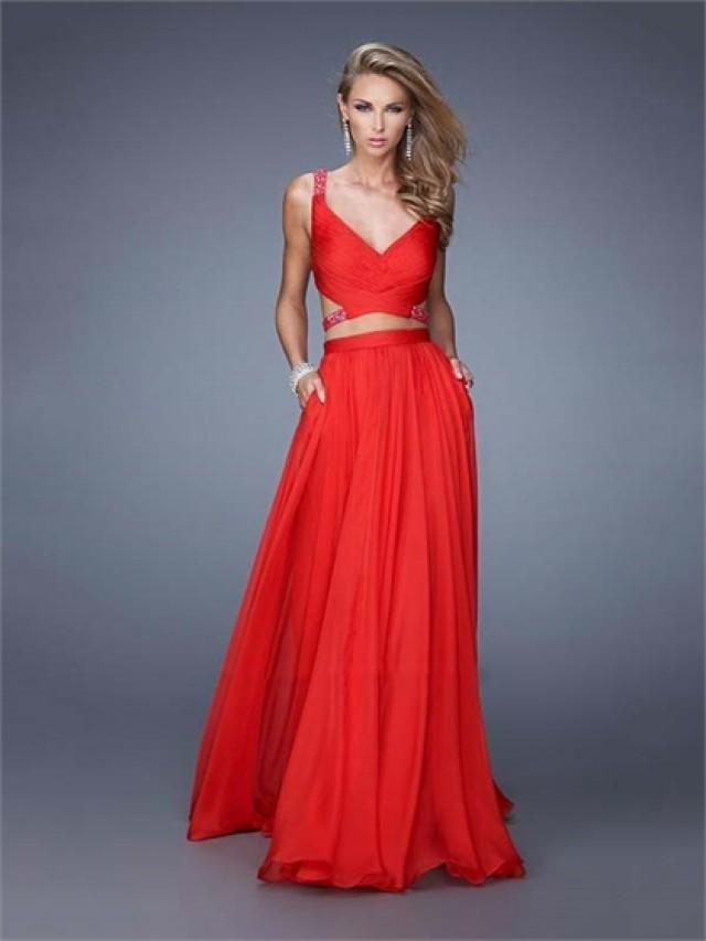wedding photo - A-line Ruhced Top Beaded Straps Chiffon Prom Dress PD3161