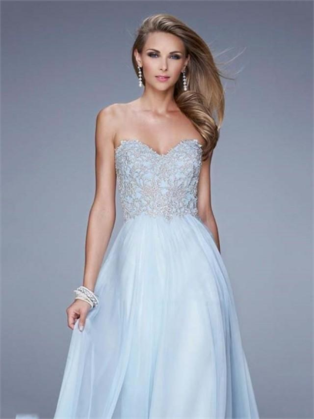wedding photo - Gorgeous Strapless Sweetheart Gathered Beaded Bodice Chiffon Prom Dress PD3160