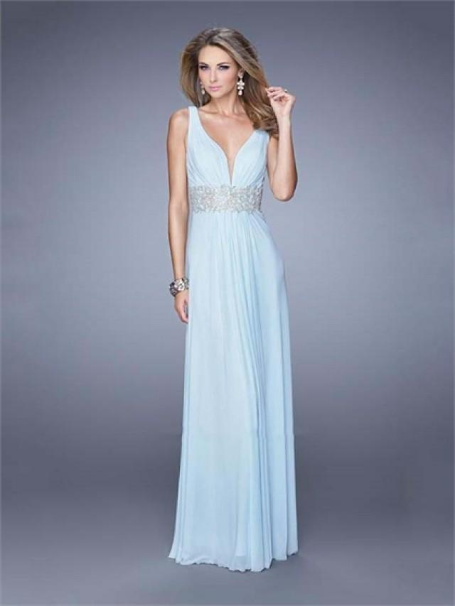 wedding photo - Deep V-neck Ruched Bodice Embroidered Belt Open Back Chiffon Prom Dress PD3142