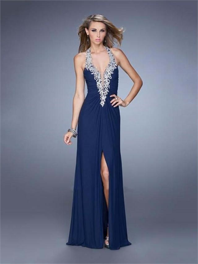 wedding photo - Halter Deep V-neck Gathered Bodice Chiffon Prom Dress PD3145