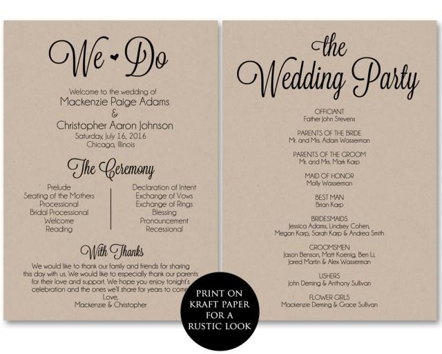 wedding ceremony itinerary template - ceremony program template wedding program printable we