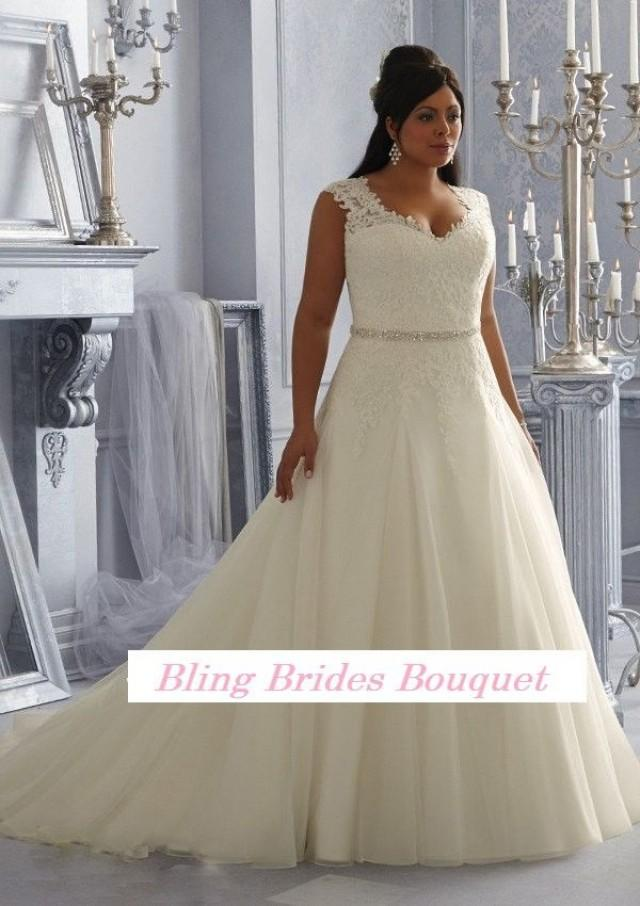 Bling Brides Fancy Sexy See Through Beading Lace Organza White Ivory A Line Plus Size Wedding Dress