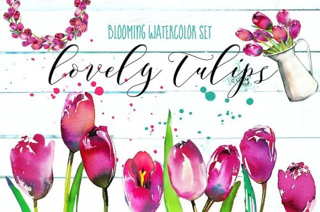 wedding photo - Lovely Tulips Watercolor Collection