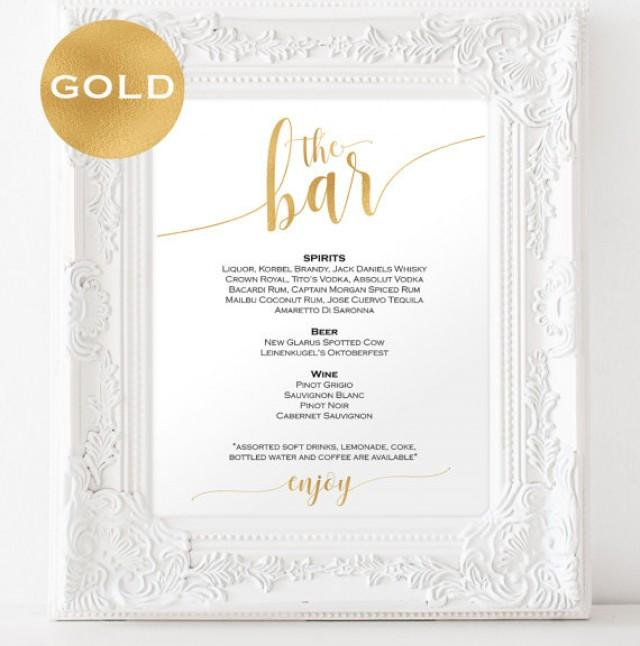 wedding photo - Gold Bar menu wedding - Bar menu sign - Drinks Sign - Bar menu printable - Gold wedding printable - Downloadable wedding signs